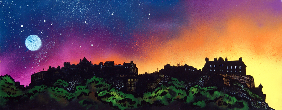 Contemporary Scottish landscape painting of Edinburgh Castle Dusk, Scotland.