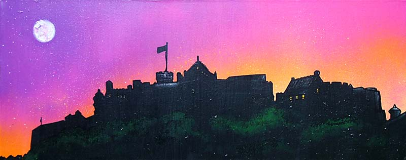 Contemporary Scottish Landscape painting of Edinburgh Castle Pink Sunset, Scotland