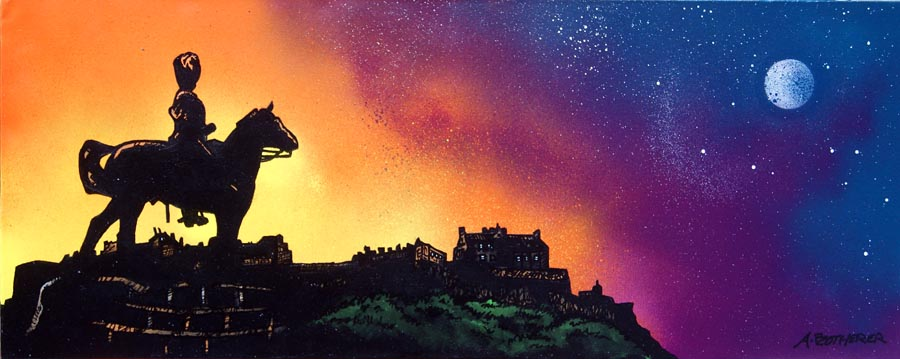 Contemporary Scottish landscape painting of Royal Scots Greys Statue and Edinburgh Castle Dusk, Scotland.