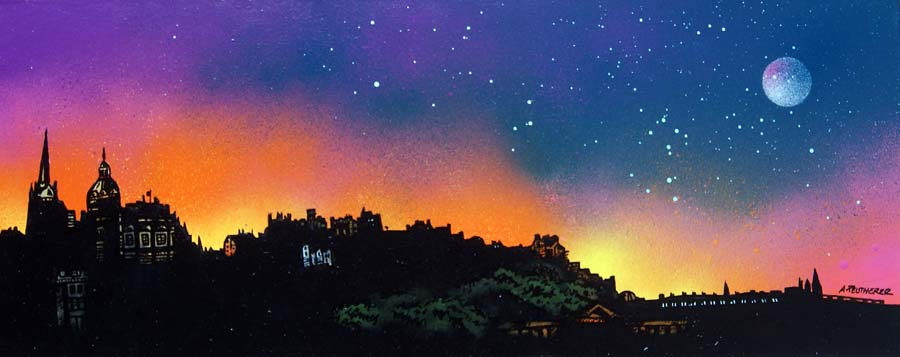 Contemporary Scottish landscape painting of Edinburgh Skyline Dusk, Scotland