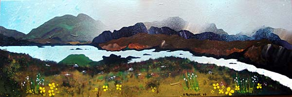 Abstract scottish landscape, mixed media painting.  Over Loch Seaforth, Isle Of Harris, Outer Hebrides, Scotland.