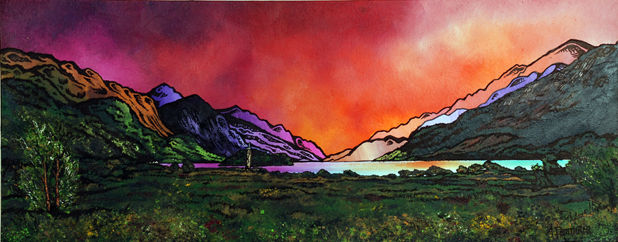 Commissioned mixed media fine art painting of Sunset Over The Glenfinnan Monument and Loch Shiel, Highlands, Scotland.