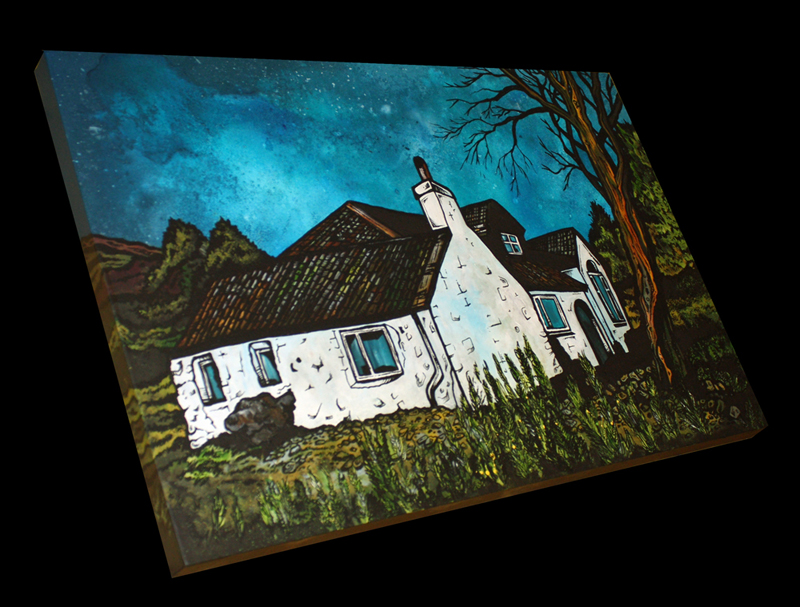 Commissioned mixed media painting of a Highland cottage.