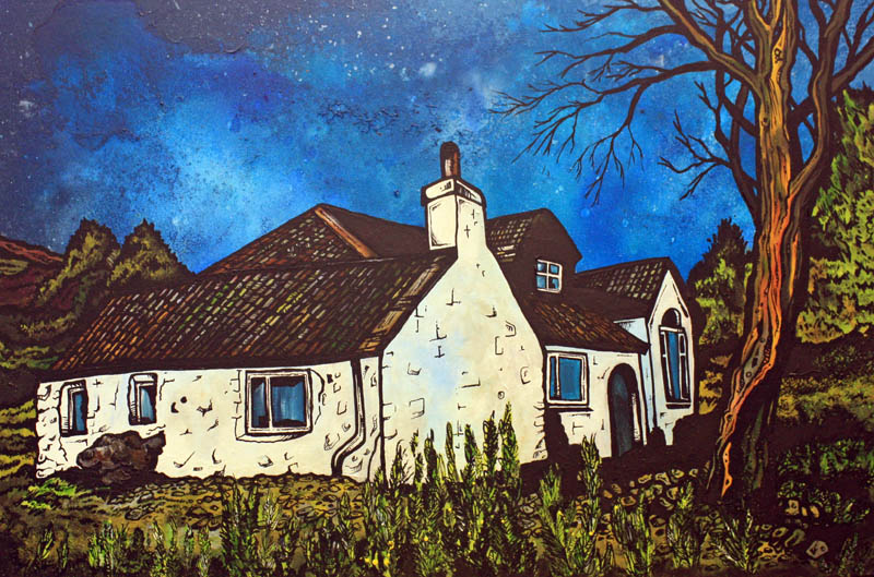 Commissioned mixed media fine art painting of a Highland cottage