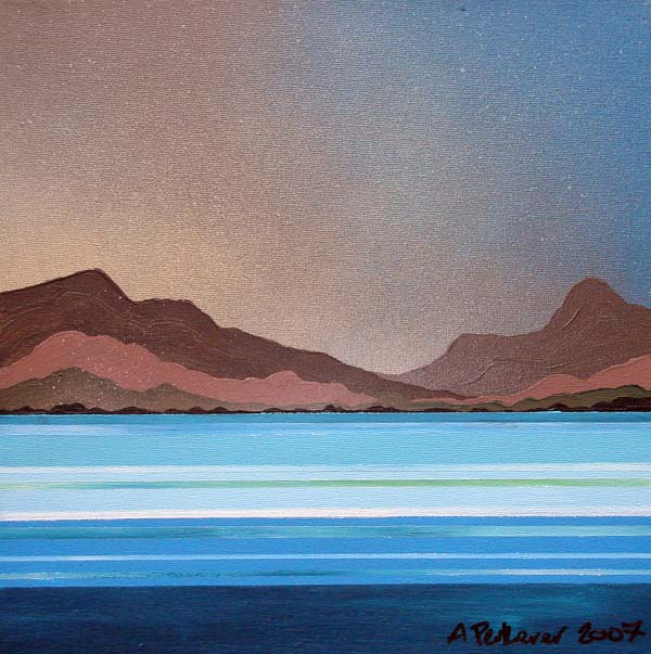 Abstract scottish landscape, mixed media painting.  Lewis.2, Isle of Lewis, Outer Hebrides