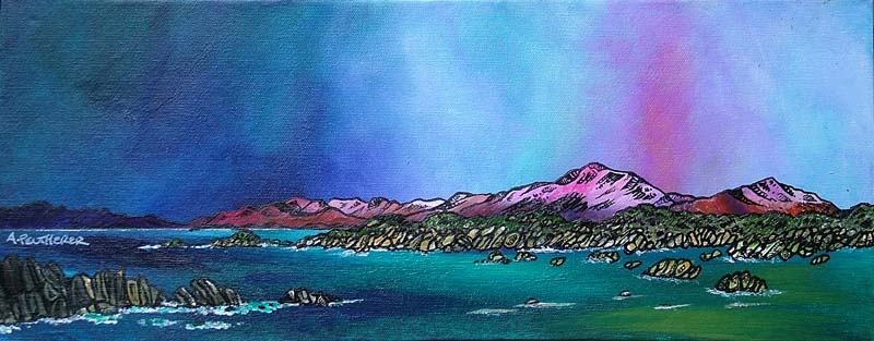 Contemporary Scottish landscape painting of Approaching Storm Over Mull From iona, Scottish Western Isles