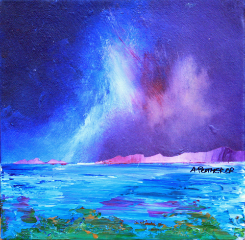 Contemporary Scottish landscape painting of Rising Storm Over Iona, Scotland.