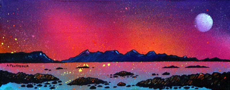 Scottish painting and prints of Rum and Eigg Pink Sunset, Hebrides, Scotland.