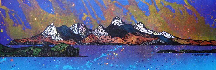 Contemporary Scottish landscape painting of The Isle of Rum Cuillin Autumn Sunset, The Isle of Rum, Scottish Hebrides, Scotland