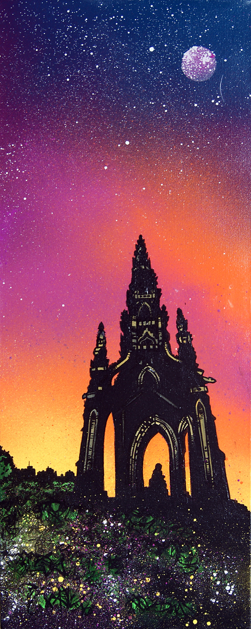 Contemporary Scottish landscape painting of Scott Monument Sunrise, Edinburgh.