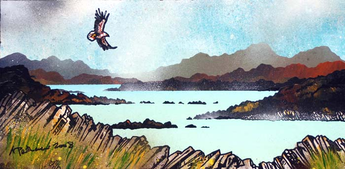 Abstract scottish landscape, mixed media painting. Sea Eagle over Lewis shore .1, Isle of Lewis, Outer Hebrides.