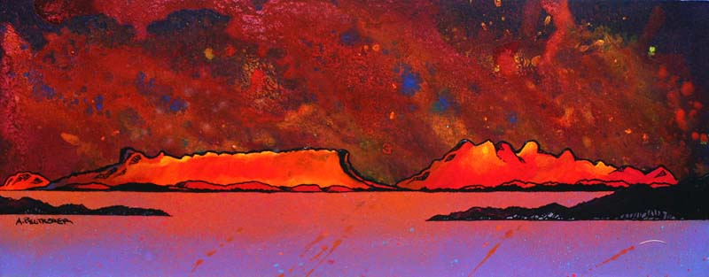 Contemporary Scottish landscape painting of Mull Hills Sunset From Oban Harbour, Argyll, Scotland.