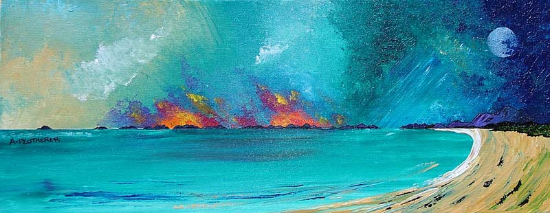 Contemporary Scottish landscape painting of Stormy Sunset , Isle Of South Uist, Scottish Western Isles