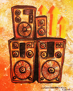 Mixed media abstract painting of a speaker stack inspired by music culture, in particular 60's Jamaican reggae and dub sound systems.