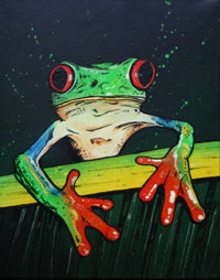Mixed media contemporary painting of a Red Eyed Tree Frog