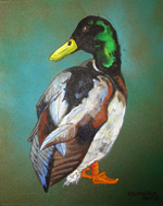 Contemporary abstract painting of  mallard duck