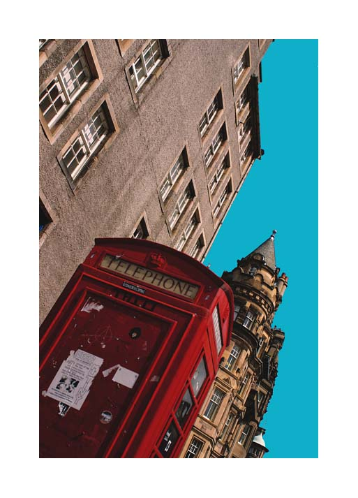 Contemporary Abstrat Photography image of Red Telephone Box, The Royal Mile , Edinburgh, Scotland.