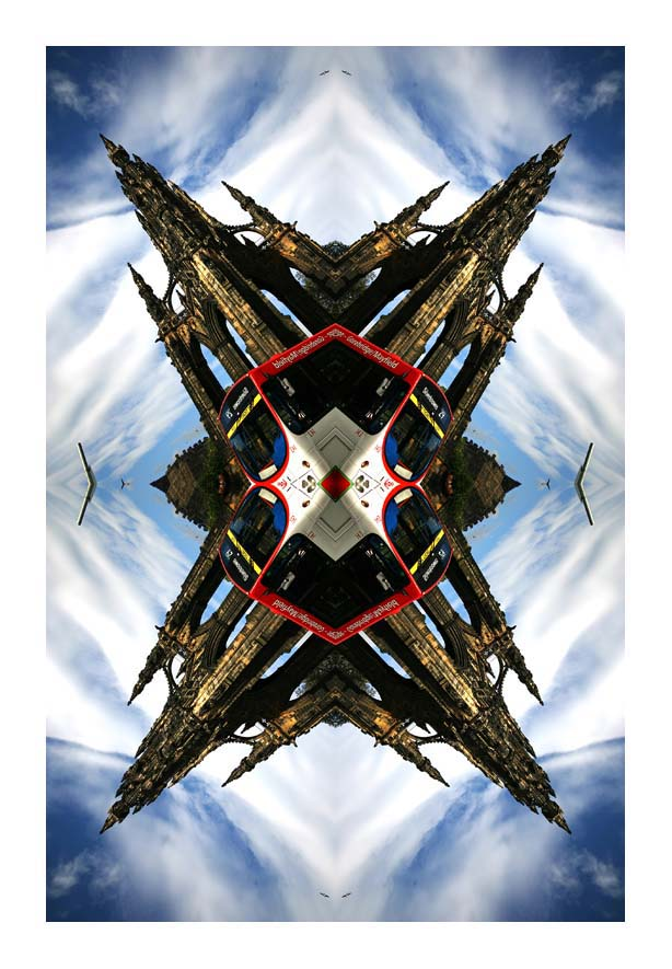 Contemporary Abstrat Photography image of Scott Monument Bus Stencil X Colour