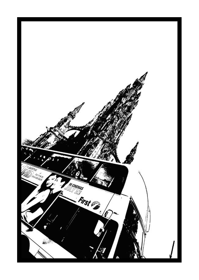Contemporary Abstrat Photography image of Scott Monument Bus 2 Stencil