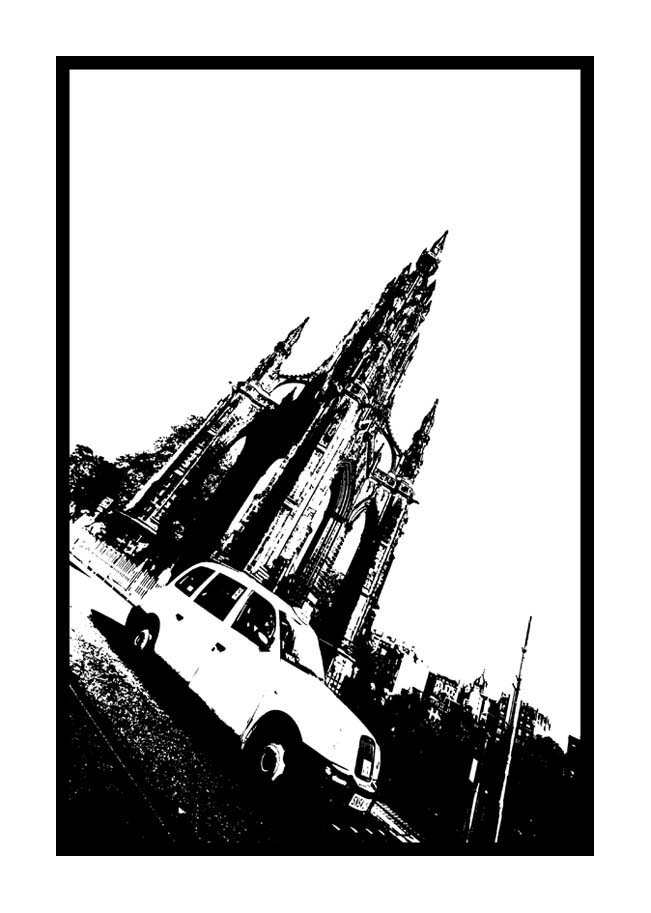 Contemporary Abstrat Photography image of Scott Monument Taxi Stencil