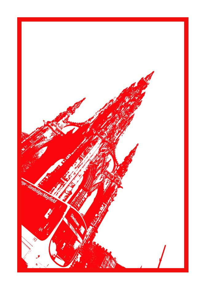 Contemporary Abstrat Photography image of Scott Monument Bus Stencil Red