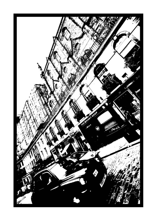 Contemporary Abstrat Photography image of Victoria Street Black Taxi Stencil