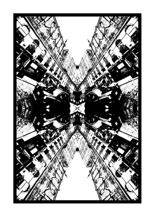 Contemporary Abstrat Photography image of Victoria Street Black Taxi Stencil X
